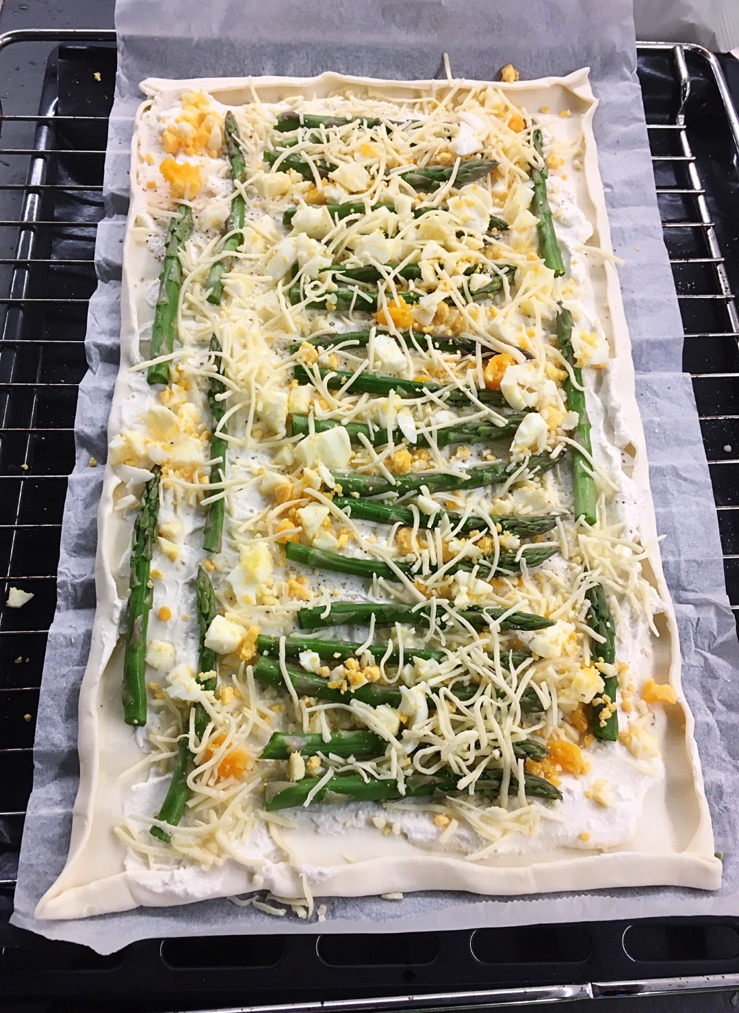 asparagus pizza before oven